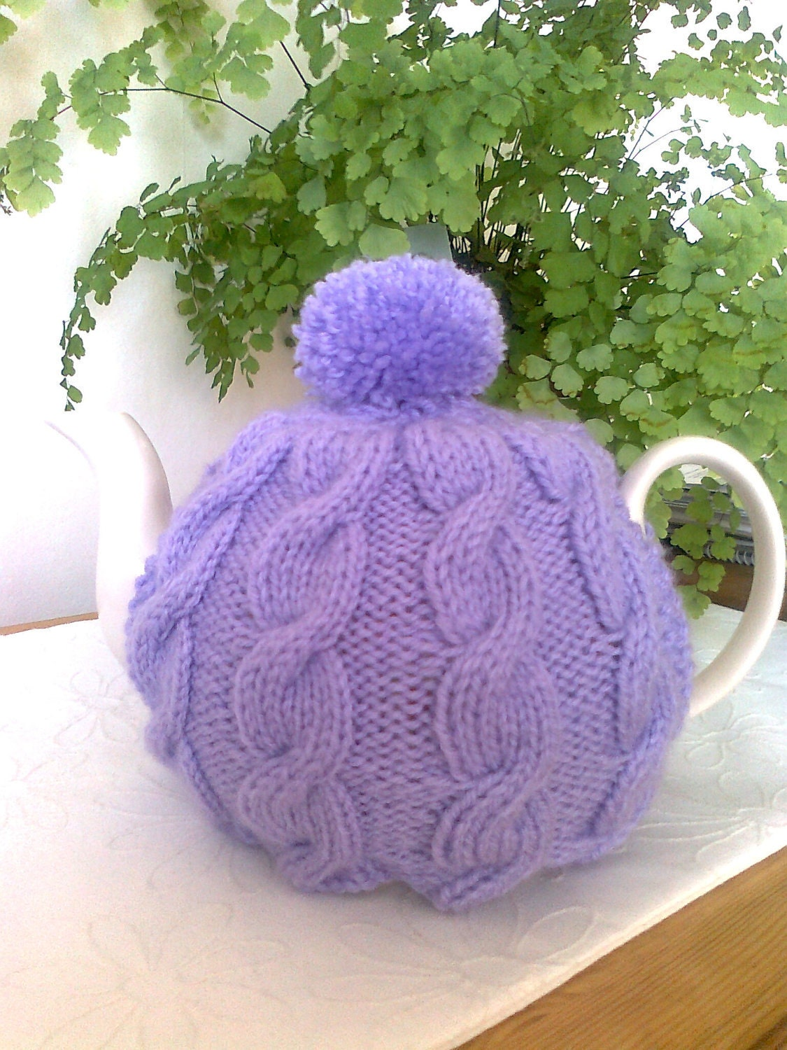 Traditional Tea Cosy Knitting Pattern : Traditional English Cable Hand knit tea cosy