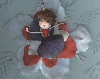 Flower Fairy - Red, White and Blue with Brown Hair (012)