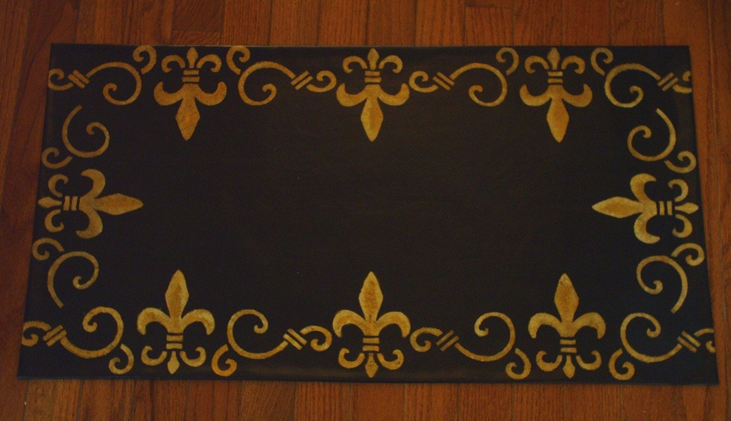 Hand Painted Floorcloth Rug Welcome Mat Black Gold By