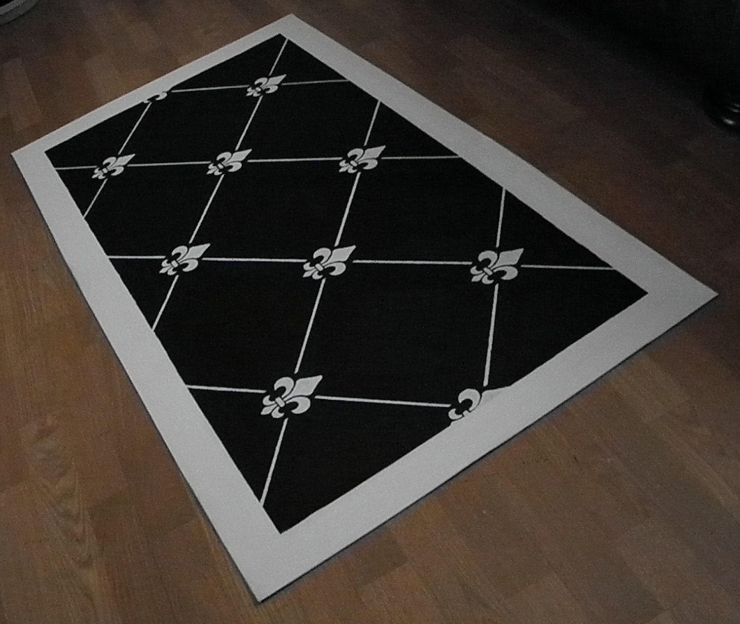 Black And White Fleur De Lis Canvas Floorcloth Rug By