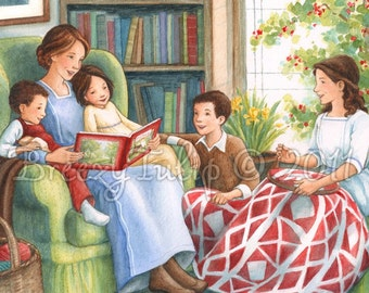 Story-time with Mama - Art Print