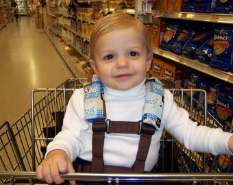 Shopping Cart Safety Harness, Grocery Cart, Child Safety, Autism Hypotonia - Puppy Love Patch-see entire shop for 50+ fabric choices
