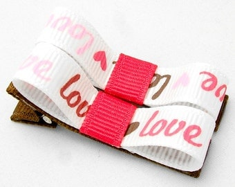 Love Hair Clips, Love Tuxedo Bows, Love and Hearts, Love Clips, Love Hair Bows, Baby Toddler Girls Pink Brown White