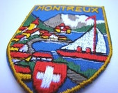 Vintage Swiss collectible travel patches - Grindelwald / Wengen / Montreux / Geneva / Switzerland