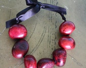 RED Tagua Nut Beaded Ribbon Necklace (short) -vegan-