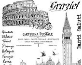ITALY, travels, Venice, Rome- set of unmounted rubber stamps