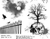 DARK BOUNDARIES - Gothic scenic set of unmounted rubber stamps by Cherry Pie