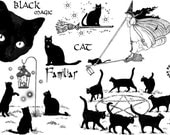 Black Magic CATS - set of UNmounted rubber stamps by Cherry Pie