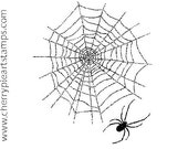 WEB and SPIDER- 2 CLiNG STAMPS by Cherry Pie Art Stamps