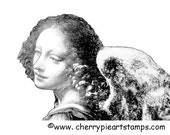 ANGEL by LEONARDO da Vinci-CLiNG STaMP for acrylic block by Cherry Pie Art Stamps