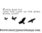 BLACK BIRD FLY- crows, ravens- CLinG rubber STaMP by Cherry Pie Art Stamps