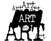 ART graphic wording- CLING rubber STAMP by Cherry Pie Art Stamps