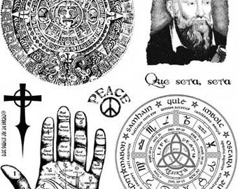 PROPHECIES - Nostradamus, Palmistry, Mayan and Pagan calendars - set of UNmounted rubber stamps by Cherry Pie
