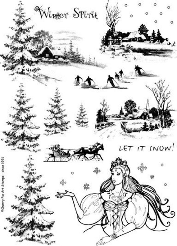 WINTER Spirit, SNOW, Sleigh, scenic - set of rubber stamps by Cherry Pie