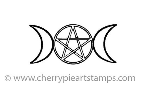 Triple Moon Symbol Goddess Pentacle Triquetra Cling