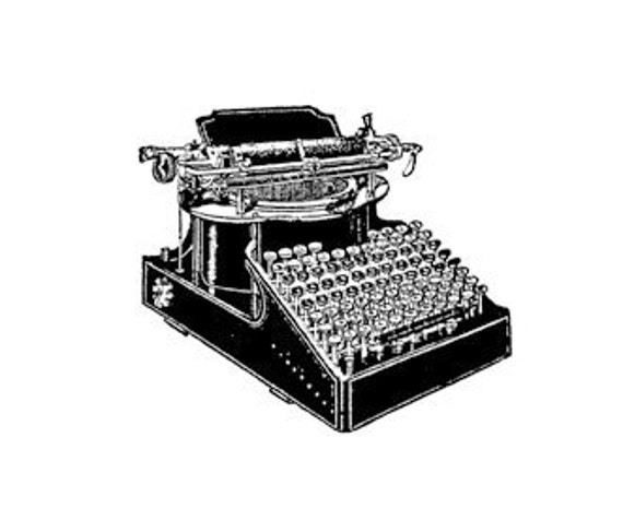 Vintage old TYPEWRITER- CLING STAMP for acrylic block by Cherry Pie Art Stamps