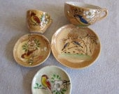 Set of 5 pieces of Lustreware Children Birds tea set