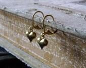 Earrings - Raw Brass Hearts