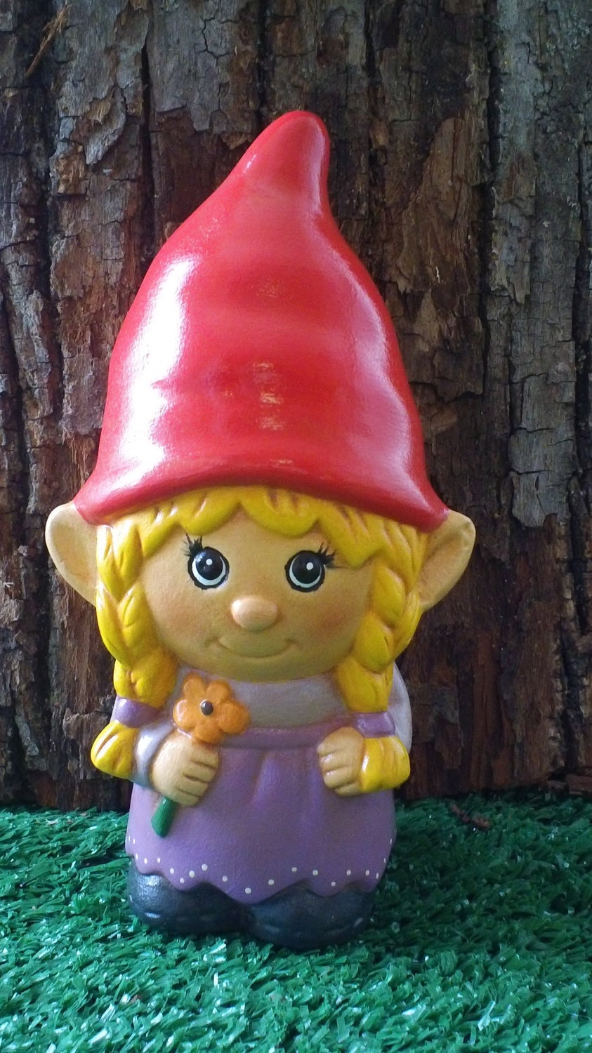 Gnome In Garden: Hand Painted Ceramic Girl Garden Gnome