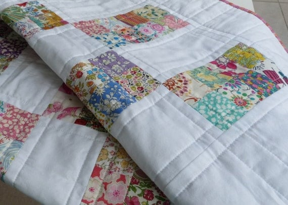 Patchwork Baby Quilt  - Liberty of London tana lawn fabric  - Baby, Cot, Crib