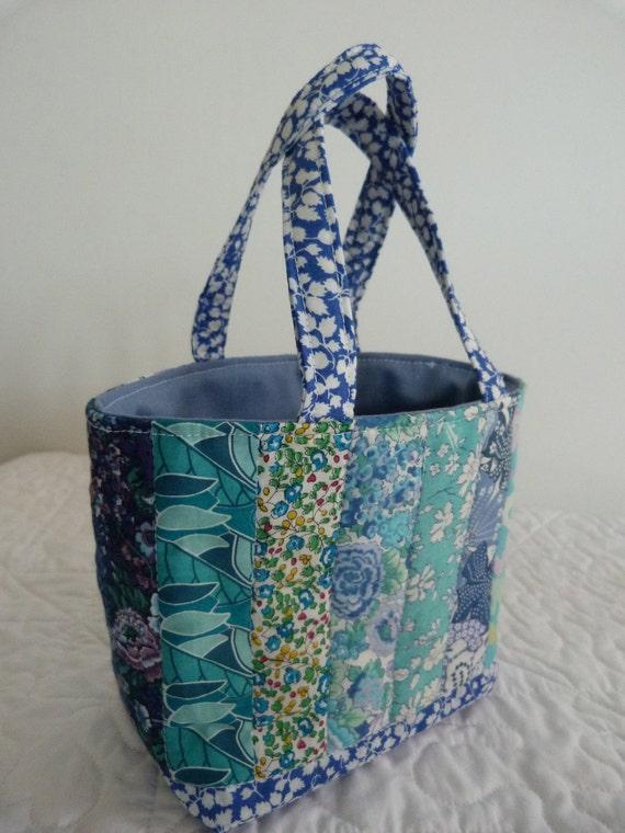 Small  Blue Patchwork  Bag -   Liberty of London Tana Lawn