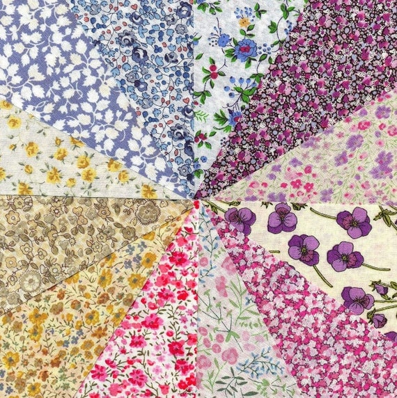 Liberty Fabric TINY FLORALS  charm pack - 12 Liberty of London Tana Lawn  Fabric 5 inch squares