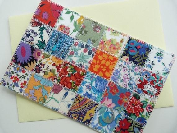 Patchwork postcard -  VINTAGE Liberty of London tana lawn patchwork postcard, correspondence card FLORAL