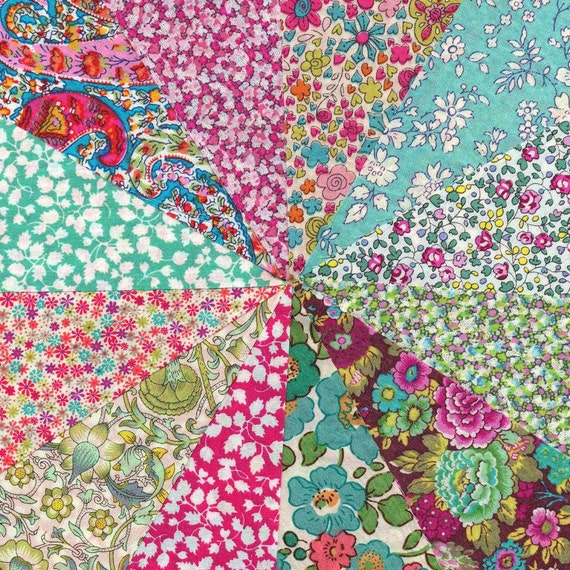 Liberty Fabric  PINK LIME & AQUA 2 charm pack - 12 Liberty of London Tana Lawn  Fabric 5 inch squares