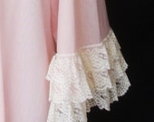 Vintage 60s Pink Peignoir Long Robe in Double Nylon with Bell Sleeves and Lots of Lace