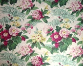 Vintage Barkcloth Curtain Drape Fabric Panel Floral Print 42 x 82 Gorgeous Flowers 40s 1940s  3rd of 4