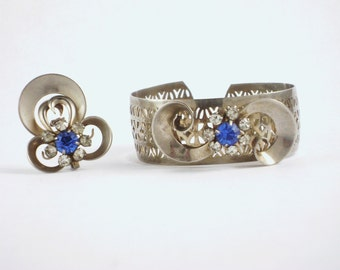 Vintage Deco Cuff Bracelet and Brooch Jewelry Set Silver with Blue and Clear Rhinestones Excellent Condition