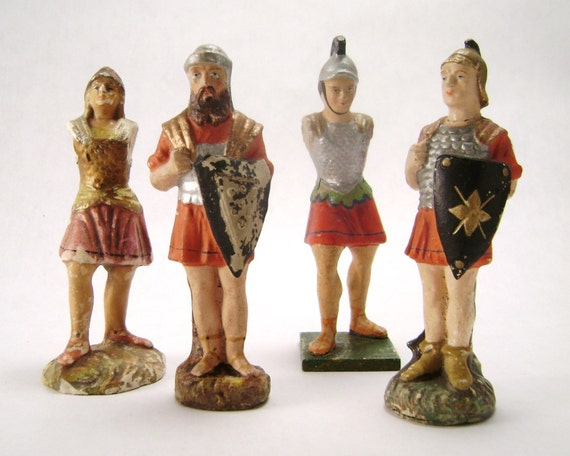Four Vintage Roman Soldiers Figurines Hand Painted Paper Mache