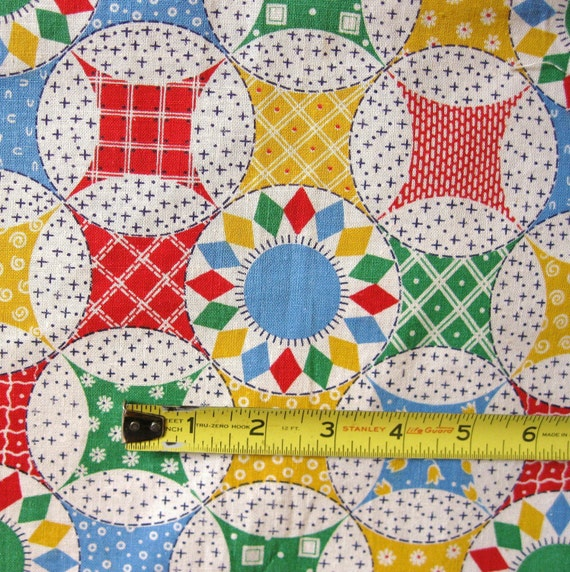 Vintage Cheater Cloth Quilt Print Fabric 2 Pieces Bright Colors Cotton Feedsack