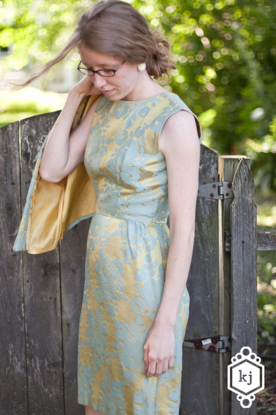 Robin's Egg Blue and Gold Jacquard Floral Vintage Sleeveless Formal Dress With Jacket