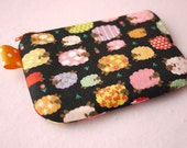 Colorful Sheep mini zippered pouch (Black)