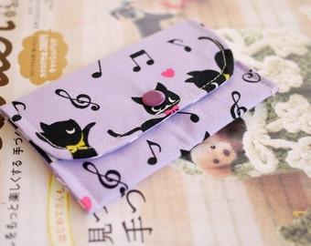 Cute Kitten with Piano Mini Snap Wallet (Purple)