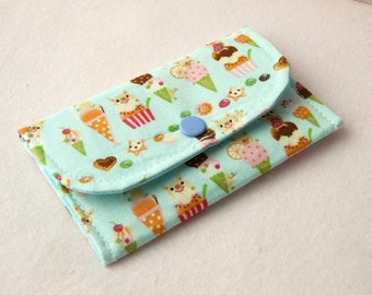 Piggy Dessert Mini Snap Wallet (Light Blue)