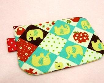 Little Elephant mini zippered pouch (Aqua)