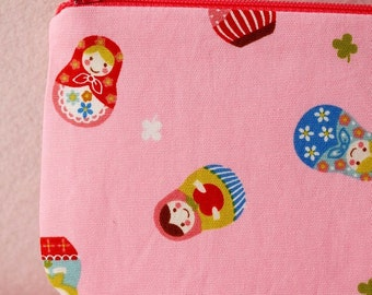Russian doll mini zipper pouch (Pink)
