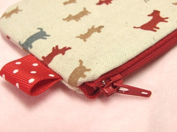 BowWow mini zippered pouch (Red)