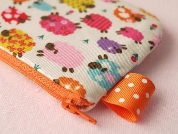 Colorful Sheep mini zippered pouch