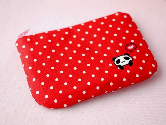 Lindy in red mini zipper pouch