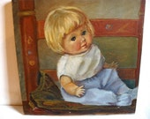 Vintage style charming little girl doll painting