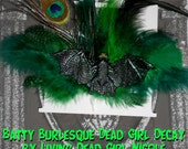 Hair Barrette and Pin: Dead Girl Decay - Large Green Bat Peacock Feather Burlesque Gothic Psychobilly Pinup Handmade Accessory