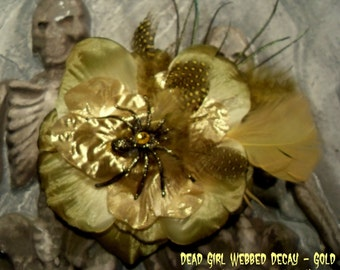 SLASHER SALE Hair Barrette Pin: Dead Girl Decay Gold Rhinestone Feather Spider Flower Glam Pinup Psychobilly Halloween Handmade Accessory
