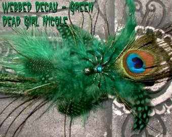 SLASHER SALE - Hair Barrette : Dead Girl Webbed Decay Green and Peacock Feather Spider Rhinestone