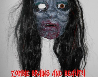 SLASHER SALE Wall Hanging : Faux Taxidermy  Life Size Zombie Ghost Dead Girl Black Hair Missing Brown Eye Halloween Horror