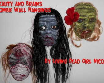 CUSTOM Wall Hanging: Faux Taxidery Zombie Wall Undead Corpse Decayed Bloody Scary Halloween Horror Brains & Beauty - Handmade Dark Art
