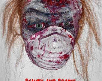 SLASHER SALE Wall Hanging : Faux Taxidermy Life Size Zombie Undead Creepy Scary Halloween Horror Deranged Mental Nurse - Handmade Dark Art