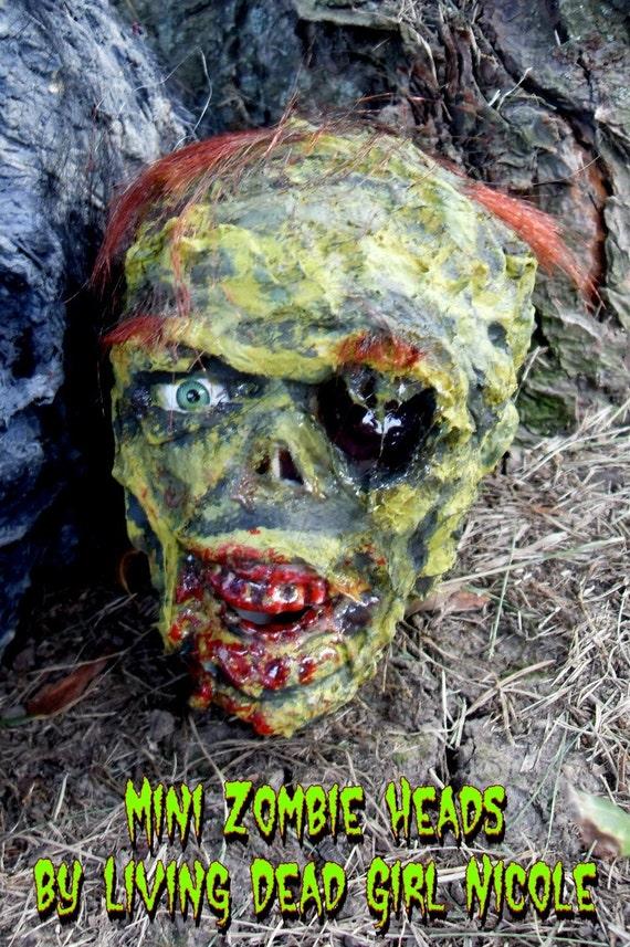CUSTOM Mini Zombie Undead Corpse Halloween Horror Head Prop Decoration - Handmade Dark Art
